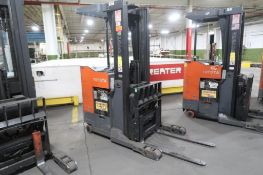 Toyota 4500 lb. Stand-up Reach Electric Forklift Model 6BR023, S/N 30554, 4184 hours, LOCATION: MAIN
