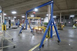 LOT: 1 Ton, 15 ft. Wide Portable Gantry, C.W. 1/2 Ton Electric Chain Hoist, M&W 1 Ton Adjustable