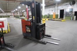 Toyota 4500 lb. Stand-up Reach Electric Forklift Model 6BR023, S/N 30555, 4779 hours, LOCATION: MAIN