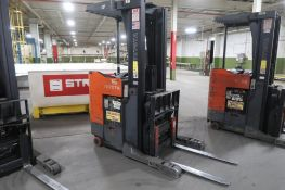 Toyota 4500 lb. Stand-up Reach Electric Forklift Model 6BR023, S/N 30557, 4888 hours, LOCATION: MAIN