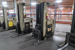 Crown 4500 lb. Stand-up Reach Electric Forklift Model RR3520-45, S/N 1A163057 (needs repair),