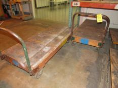 LOT: (4) Assorted 4-Wheel Wood Deck Shop Carts (2 - 30 in. x 42 in., 2 - 30 in. x 72 in.)