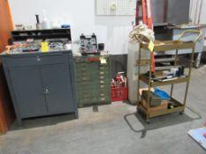 LOT: Assorted Tools w/(1) Foremans Desk, (1) 10-Drawer Cabinet, (1) 4-Wheel Cart