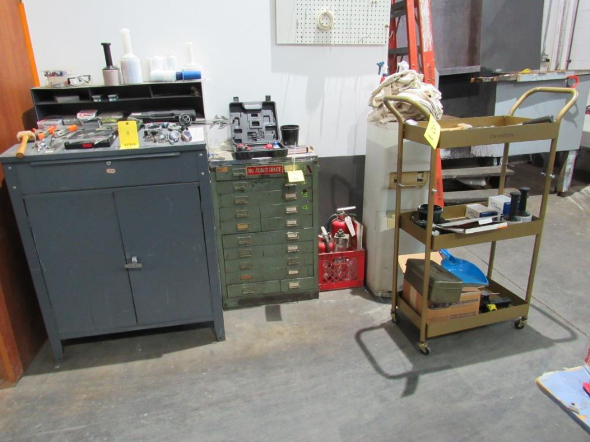 LOT: Assorted Tools w/(1) Foremans Desk, (1) 10-Drawer Cabinet, (1) 4-Wheel Cart