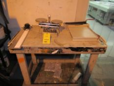 LOT: (1) Ohaus Table Top Balance Scale w/12 in. Paper Cutter and 24 in. x 42 in. Wooden Work Bench