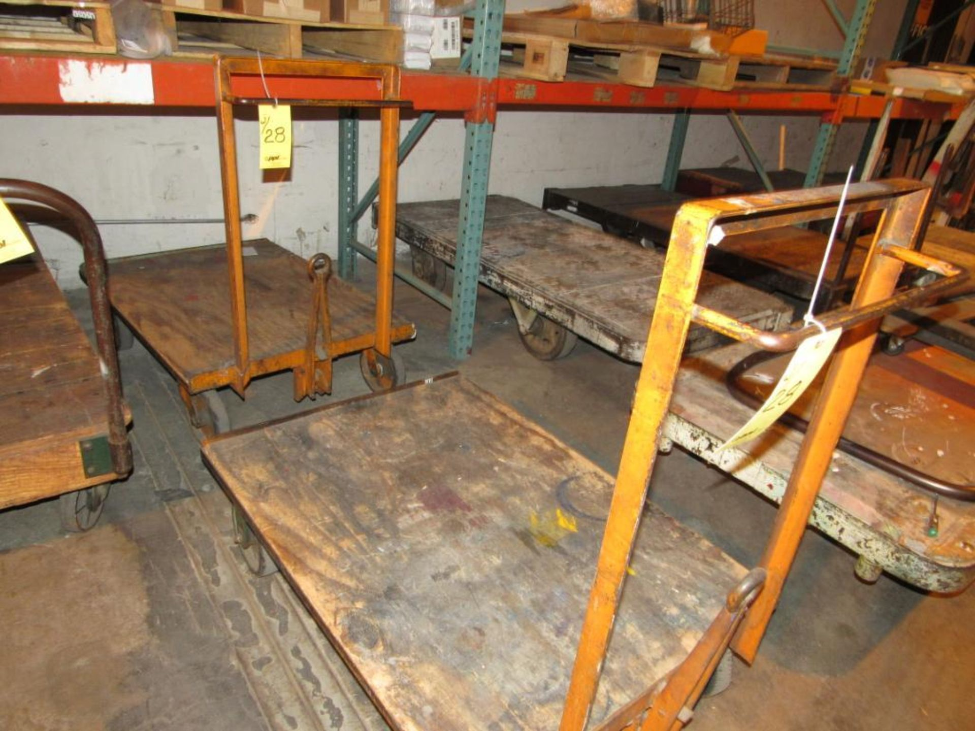LOT: (4) Assorted 4-Wheel Wood Deck Shop Carts (2 - 30 in. x 42 in., 2 - 30 in. x 72 in.) - Image 2 of 2