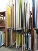 LOT: (30 approx.) Aluminum Screen Print Frames on (2) Shelves (MUST CUT OUT SCREEN BEFORE REMOVAL)
