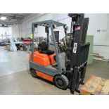Toyota Forklift Model 42-6FGCU15, 2800 lb. Cap., 3-Stage Mast, Side Shift, LPG, 189 in. Lift Height,