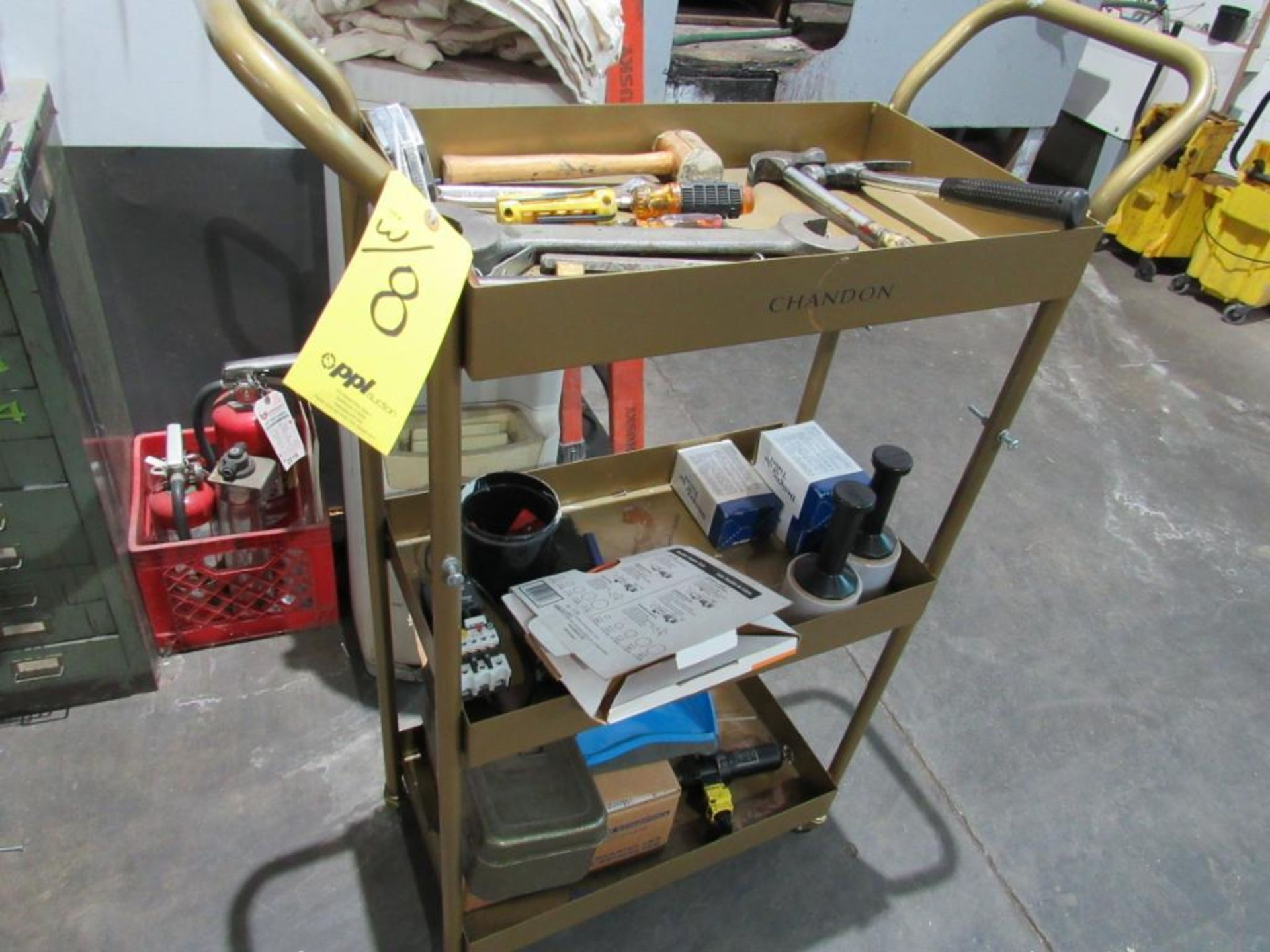 LOT: Assorted Tools w/(1) Foremans Desk, (1) 10-Drawer Cabinet, (1) 4-Wheel Cart - Image 3 of 3