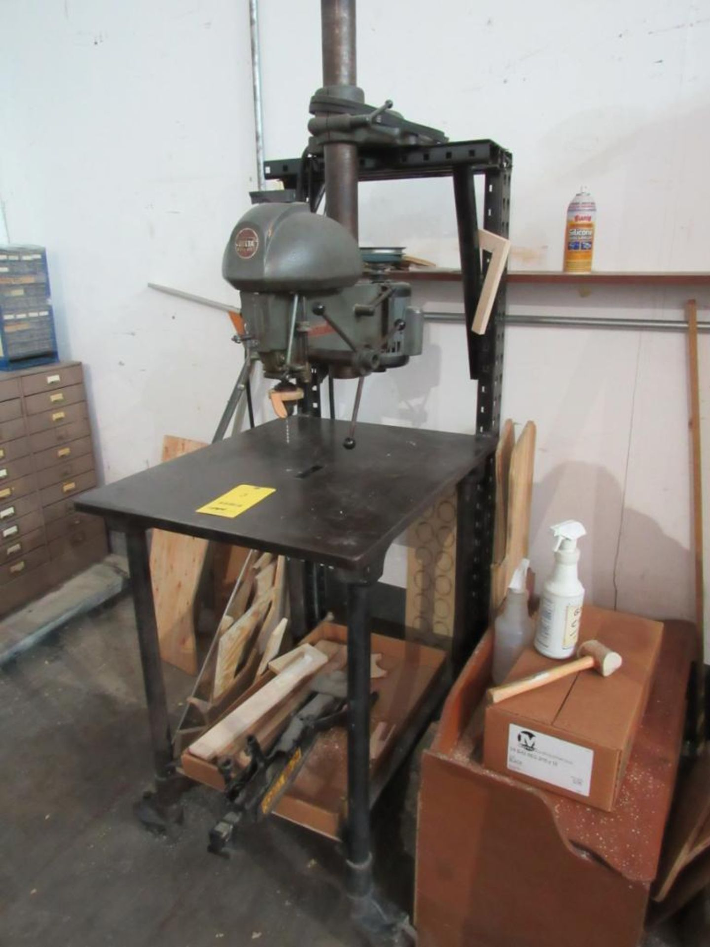 Delta 14 in. Drill Mounted on Portable Custom Table, 30 in. x 24 in.