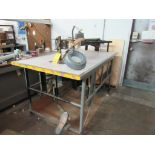 LOT: Deep Throat Electric Scroll Saw, 42 in. x 77 in. Table w/Shop Vac Dust Collector