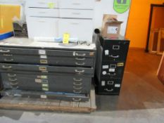 LOT: (2) 5-Drawer Blue Paint Cabinets, (1) 3-Drawer File Cabinet, (1) 6-Drawer Wooden Cabinet