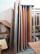 LOT: (13) Large Aluminum Screen Print Frames w/Aluminum Rack (MUST CUT OUT SCREEN BEFORE REMOVAL)