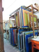 LOT: (25 approx.) Aluminum Screen Print Frames on (4) Shelves (MUST CUT OUT SCREEN BEFORE REMOVAL)