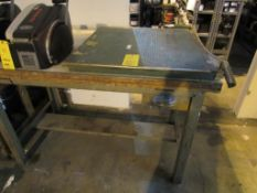LOT: (1) 30 in. Paper Cutter w/38 in. x 60 in. Wood Top Work Bench