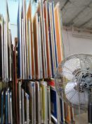 LOT: (38 approx.) Aluminum Screen Print Frames on (2) Shelves (MUST CUT OUT SCREEN BEFORE REMOVAL)