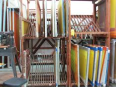 LOT: (12 approx.) Aluminum Screen Print Frames on (4) Shelves (MUST CUT OUT SCREEN BEFORE REMOVAL)