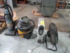 LOT: (1) Air King 20 in. Air Circulator, (1) 5.0 HP Shop Vac, (1) Pelonis Electric Heater, (1)