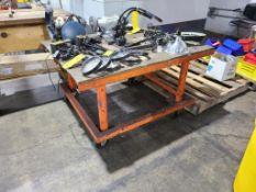 Steel Fabricated Rolling Work Table, 40 in. x 27 in. x 48 in deep