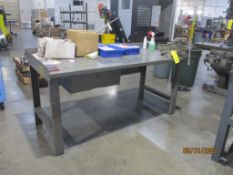 Steel Fabricated Work Table w/Mounted Vise, 72 in. x 34 in x 34 in. deep