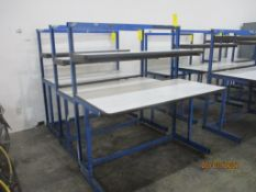 Production Basis EDS C-Leg Work Station, 60 in. x 60 in, 2-Shelf