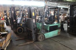 Mitsubishi Electric Forklift Model FB20KT, Side Shifter, 3750 lb. Capacity, Dual Mast 119 in. Reach,