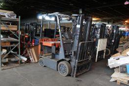 Toyota Electric Fork Lift Model 7FBCU20, Side Shifter, 3500 Lb Capacity, Triple Mast 189 in.