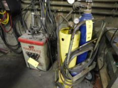 LOT: Torch Cart with Bottles, Gauges, Hose & Torch and Marquette 180 Amp Arc Welder (LOCATION: 520