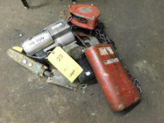 LOT: Dayton 1 Ton Chain Hoist, 1/2 Ton Electric Chain Hoist with Pendant Control (LOCATION: 520