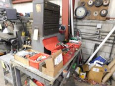 LOT: End Mills, Drill Bits & Hold Down Accessories on Work Bench (LOCATION: 520 DRESDEN ST.,