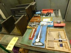 LOT: Angle Plates and Assorted Inspection Gauges & Dial Indicators on Rolling Steel Cart (