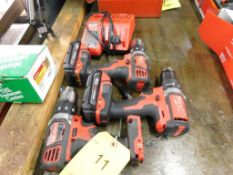 LOT: (3) Milwaukee M18 Cordless Drills with (2) Batteries & Charger (LOCATION: 520 DRESDEN ST.,