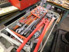 LOT: Large Combo / Pipe / Adjustable Wrenches on Rolling Cart (LOCATION: 520 DRESDEN ST.,