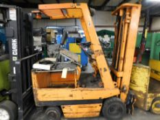 Toyota 2640 lb. Electric Forklift Model 2FBCA15, S/N 11572 (1981), Solid Tires, Overhead Guard,