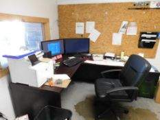 LOT: Contents of (2) Offices including (2) Printers, Desks, Shelves, Television, (4) Chairs,