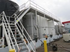 LOT: Storage Tank Metal Catwalk with Pumps and Meters