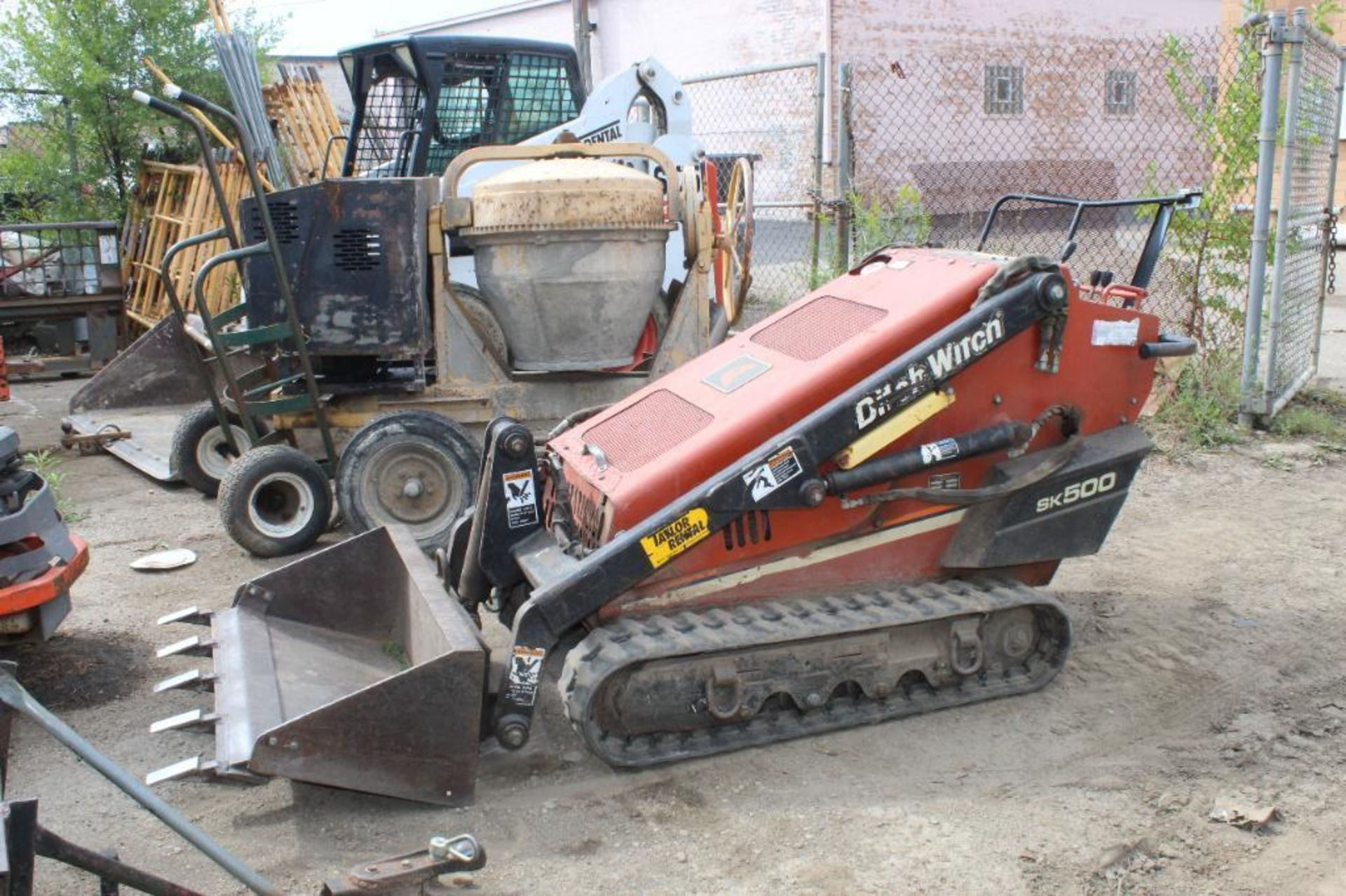 Ditch Witch Mini Skid Steer Model SK 500 with Loader Bucket and 5 Tooth Blade, S/N 1Y5485, 750 Indic