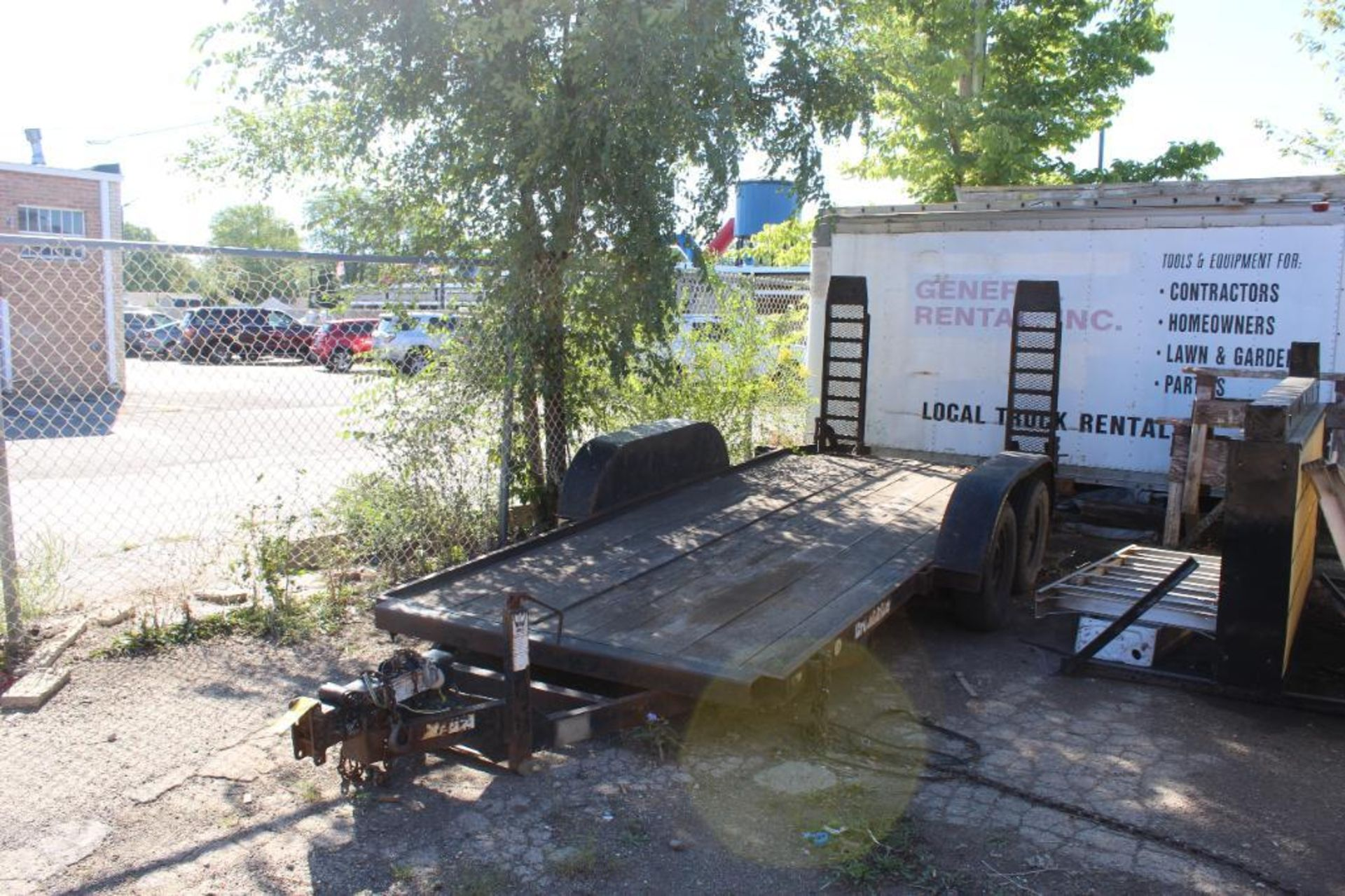 2005 Cronkhite Model 2200EHSA 6 x 16 Flat Bed Dual Axel Trailer with Adjustable Ramps