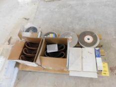LOT: (2) Boxes 3 in. x 24 in. Sanding Belts, (4) Grinding Wheels, Pads, Wheel Dresser