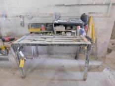 LOT: 62 in. x 36 in. x 48 in. Steel Work Table, with Contents of Clamps, Tape Measures, Squares, etc