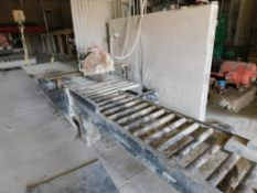 Stone Saw Direct Gear Drive Jointing Saw, 21 in. 15 HP Blade, 48 in. x 24 ft. Gravity Roller Conveyo