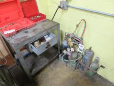 Acetylene Torch Set With Cart, Tanks, Table, And Extra Torches