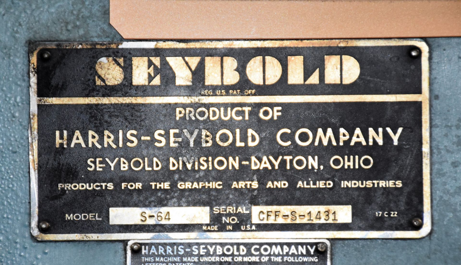 Seybold Paper Cutter, S-64 - Image 8 of 8