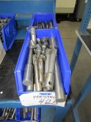 (2) Bins of Assorted Carbide Reamers, Cutters, Drill, End Mills, etc. Tooling