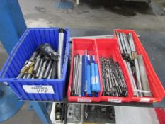 (4) Bins of Assorted Drill, Reamers, Cutters, etc. Tooling