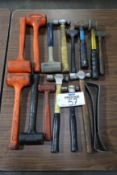 Lot of Assorted Hammers & Pry Bars