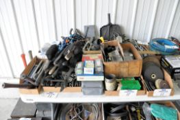 Lot-Grease Guns, Brushes, Shim Stock, Grinding Disks, Wrenches, etc. in (9) Boxes, (Bldg 1)