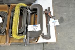 """Lot-8"""" and 10"""" C-Clamps with (2) Small Bar Clamps in (1) Box, (Bldg 1)"""