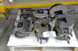 Lot-Various Die Clamps and Custom Clamps on (1) Pallet Under (1) Table, (Bldg 1)