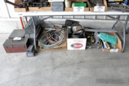 Lot-Various Tool Boxes, Tubing, Paint Rollers, Brushes, etc. Under (1) Table, (Bldg 1)